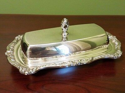 Poole Silver Co. Lancaster Rose 5011 Covered Butter Dish With Glass