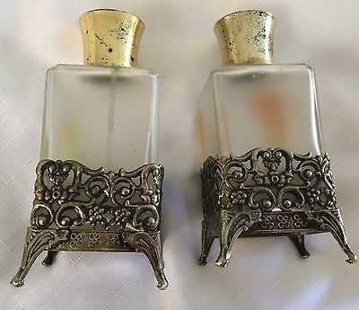 Vintage Perfume Bottles - Made In Germany In Brass Holders In Good To Vg Cond