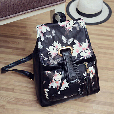 Girls Leather School Bag Travel Backpack Satchel Print Rucksack