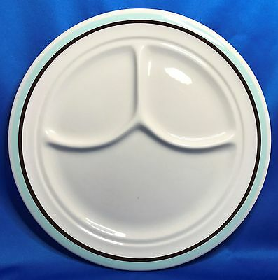 Shenango China Aqua Blue & Brown Bands Divided Grill Plate Heavy Restaurant Ware