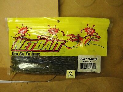 """15 Count NetBait 6/"""" Dirt Dawg Worms New//Old Stock Watermelon w//Red Flake"""