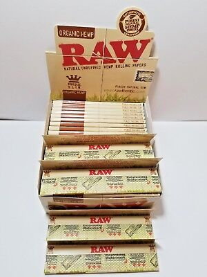 AUTHENTIC Raw Organic Hemp King Size Slim Natural Rolling Papers Full Box of 50.