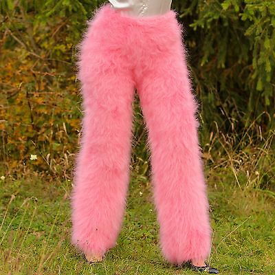 Hand knitted mohair pants SUPERTANYA ROSE PINK Fuzzy trousers soft leggings