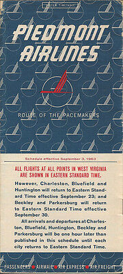 Piedmont Airlines system timetable 9/3/63 [4102]