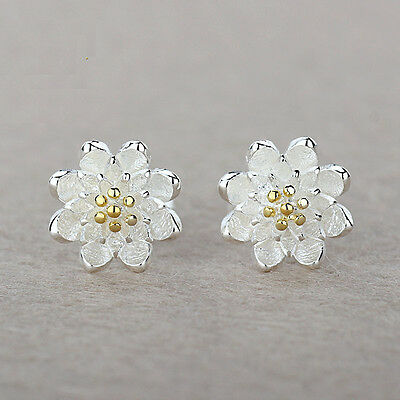 925 Sterling Silver Women Jewelry Cute Flower Elegant Crystal Ear Stud Earrings