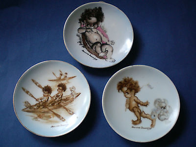 3 Vintage Blue Brownie Downing Signed Pin Dishes 10Cm