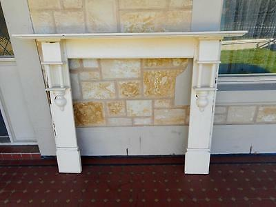 c.1900's Vintage Ornate White Solid Timber Open Fire Place Surround Mantlepiece