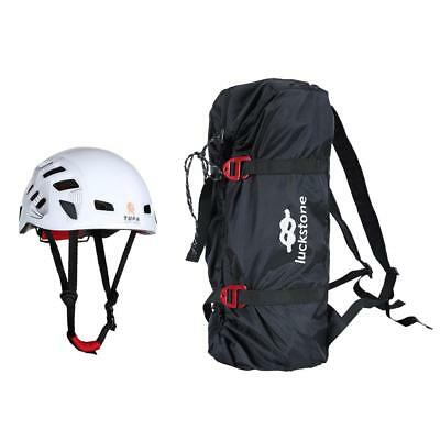 Foldable Climbing Caving Rope Bag & Ground Sheet + Vented Safety Helmet Cap