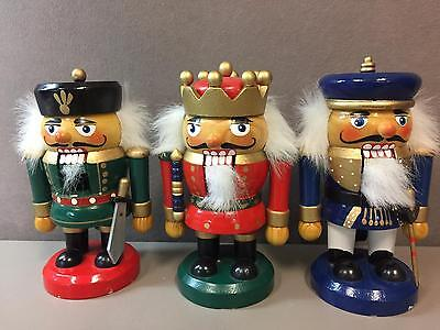 Lot of 3 Vintage Wooden Nutcrackers, Military King Christmas Made in China