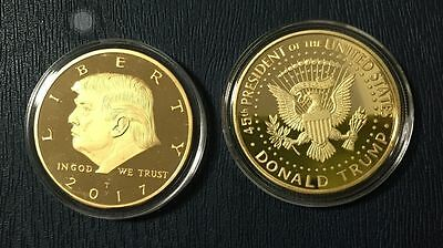 US President Donald Trump Inaugural Gold EAGLE Commemorative Novelty Coin JHK4
