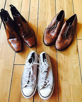 3 X Men's Used High Street Shoes Joblot-Converse-Office-M&s - Uk 8/8.5