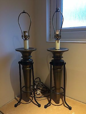 pair of old Metal table lamps