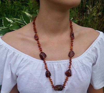 "27,5"" long Beautiful Genuine Baltic Amber Necklace Cognac"