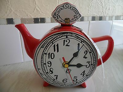 Teapot - Red, Large With Clock Illustration On Both Sides