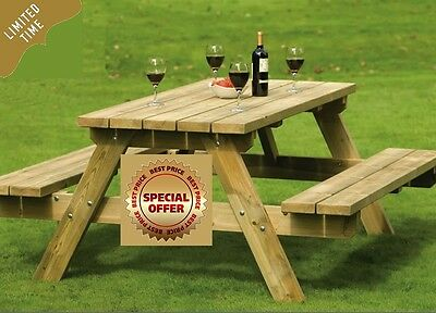 Wooden Garden Picnic Table Outdoor Home Patio Bench Furniture Set Party Dining
