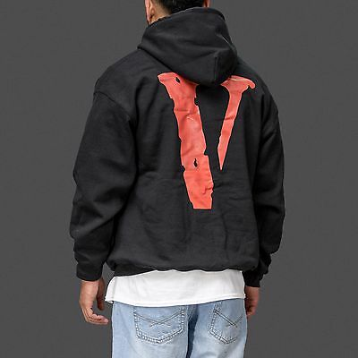 b622d88871556 Vlone V-Lone Black and White Streetwear Friends Hoodie as worn by ASAP Rocky