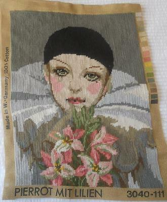 Vintage Completed Tapestry Canvas Pierrot With Lilies Suit Craft Upcycle