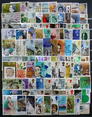 100 Different Great Britain Commemorative Used Stamps: