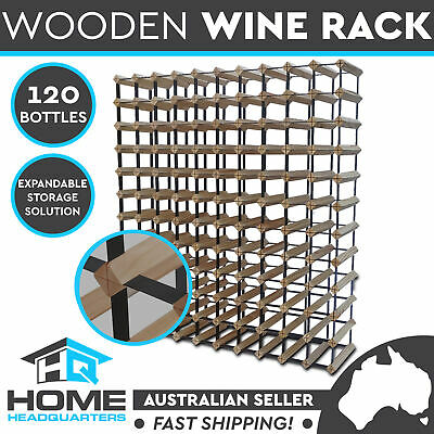 New Set of 120 Bottle Timber Wine Rack Natural Wooden Storage Cellar Organiser