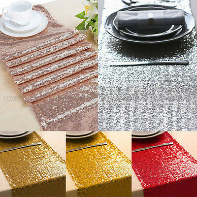 "12""x118"" Sparkle Sequin Table Runner Glitter Wedding Banquet Party Decor UK"