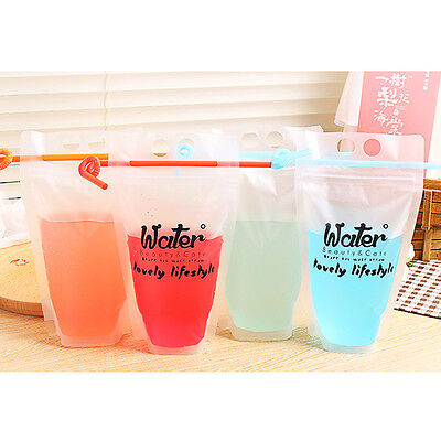Hand-Held Drink Bag 13*23 Translucent Reclosable Heat-proof Zipper Stand-up Bags