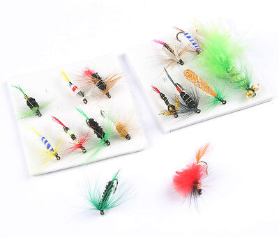 16pcs/2 Boxes HQ Assorted Trout Bee Fishing Fly Flies Hooks Terminal Tackle
