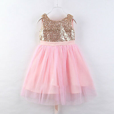 Girls Kids Flower Princess Formal Party Wedding Bridesmaid Tulle Gown Long Dress