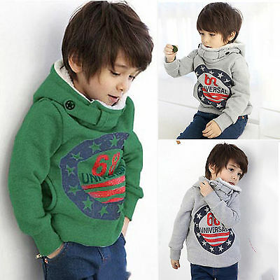 Kid Boy Warm Hoodie Fleece Padded Hooded Sweatshirt Tops Pullover Jumper Outwear