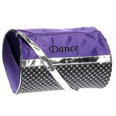 Girl's Quilted Nylon Dance Duffle Bag w Sequins Purple Black Silver