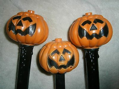 3 awesome vintage black Halloween candle lamp lights jack o' lantern