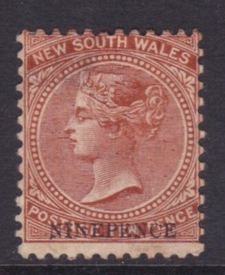 NSW AUSTRALIA SCARCE 1878 9d ON 10d Red Brown SURCHARGE MINT/MH CV$140  (DD60)