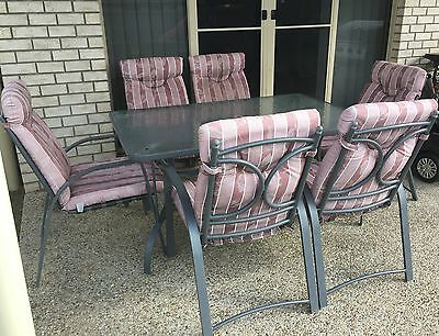 QLD Pickup** Outdoor Dining Set 6 Seater Glass Table And Padded Chairs