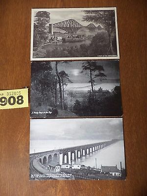 Vintage Photographic Postcards - Tay Bridge Dundee / Forth Bridge / The Tay