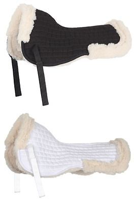 New Shires Faux Sheepskin Fully Lined Half Pad,numnah Black / White Saddle Pad