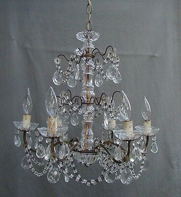 Beautiful Antique Italian  Macaroni Bead 6 Light Chandelier