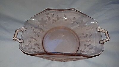 Vintage pink depression glass handled etched bowl 11 1/2 inches