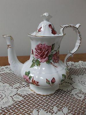Vtg Hammersley Bone China Coffee/chocolate/tea Pot-Pink Roses & Gilt Trim-Superb