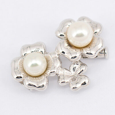 Authentic Mikimoto Pin Brooch Pearl 6.2/6.9mm  Sterling silver H#8066