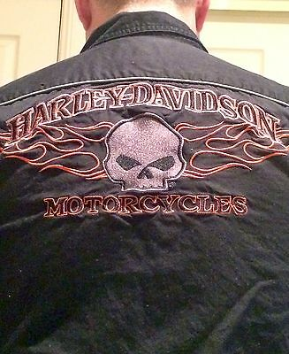 Mens Harley Davidson Skull And Flame Buttoned Shirt