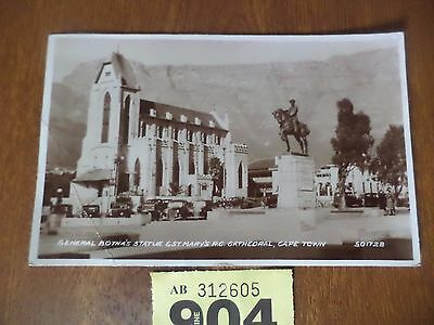 Vintage Photographic Postcard - General Botha Statue St Mary Cathedral Cape Town