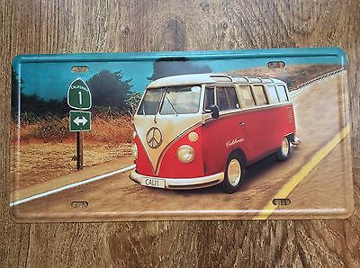 VOLKSWAGEN T2 BULLI VAN BUS - Metal License Plate TIN Sign Car plate garage gift