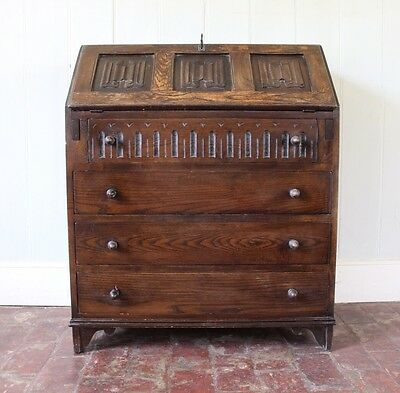 Beautiful Jaycee Carved Oak Bureau Writing Desk Chest Of Drawers **DELIVERY**