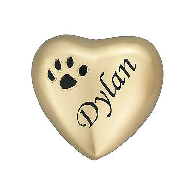 Personalised Paw Print on Golden Heart Pet Urn Keepsake Dog Cat Ashes Cremation
