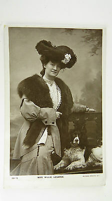 Edwardian Stage Actress Miss Millie Legarde & Spaniel Postcard No 1511S