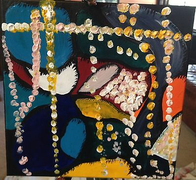 SALE! 35% off Pearls: Artist Signed Original Abstract Acrylic Painting on Canvas