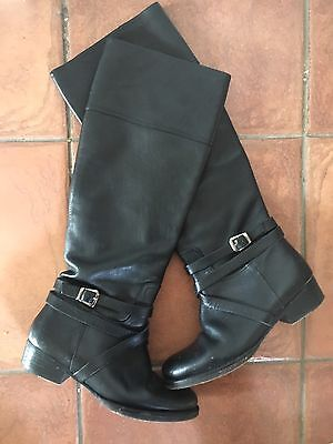 Marcus B Black Leather Knee High Boots - Size 38