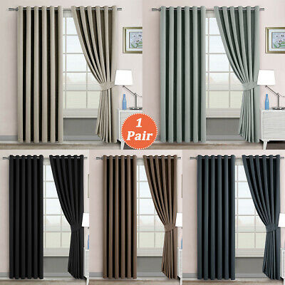 Pair of 100% BLOCKOUT BLACKOUT Eyelet Curtains Thermal Insulated Room Darkening