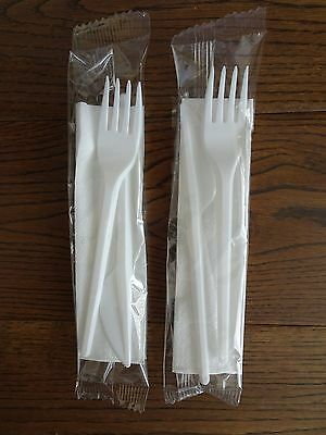 Disposable Plastic Strong Knife Fork & Napkin Cutlery Set 3 in 1 Meal Pack