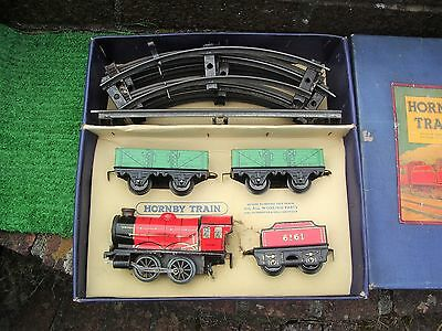 Hornby Train M.o. Goods Set Clockwork 0 Gauge Circa 1949