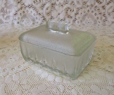 Vintage Frosted Glass Butter/Cheese Dish